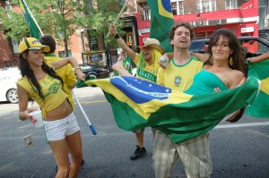 Brazilian Fans Celebrate a 3-1 Victory Over Cote D'Ivoire (Ivory Coast) at World Cup 2010 South Africa!